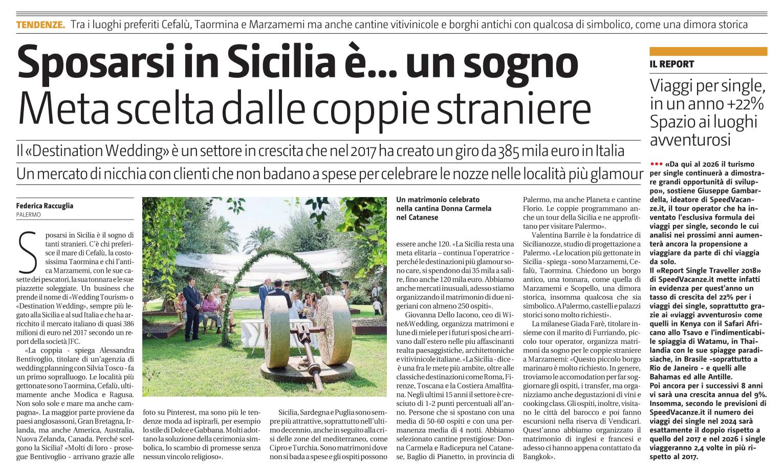 Wine&Wedding sul Giornale di Sicilia